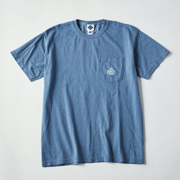 #3004 I like post pocket tee A3 / pigment dyed cotton jersey blue x green