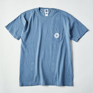 #3005 ESS pocket tee B3 / pigment dyed cotton jersey blue x white