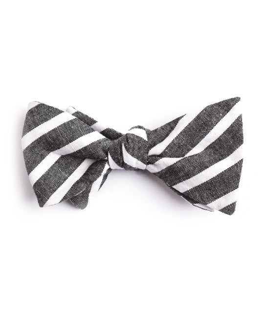 Black Large Striped Bow Tie - Mosaic Menswear - 2