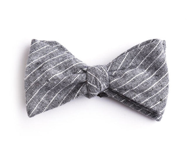 Gray Small Striped Bow Tie