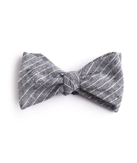 Gray Small Striped Bow Tie - Mosaic Menswear - 2