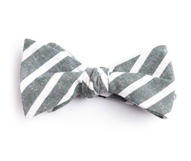 Green Large Striped Bow Tie