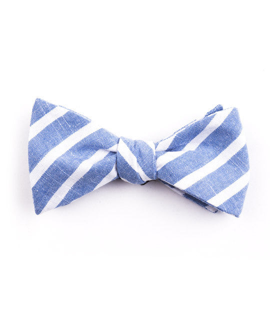 Blue Large Striped Bow Tie - Mosaic Menswear - 2