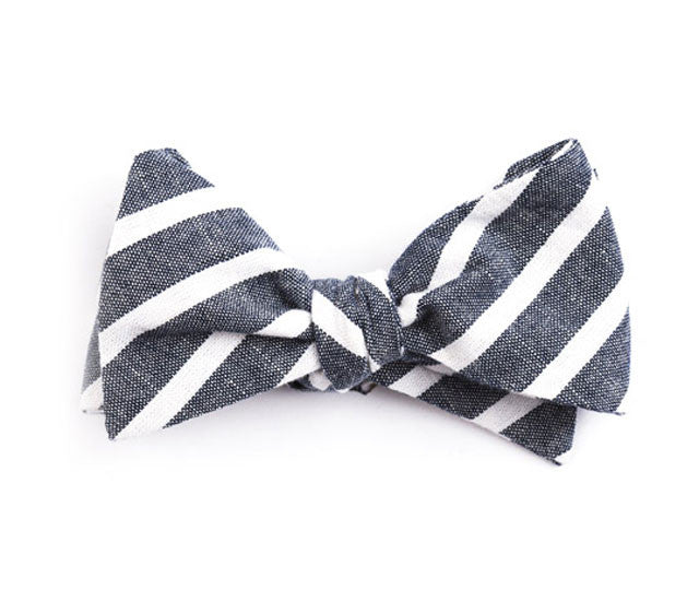 Navy Large Striped Bow Tie