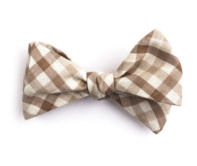 Brown & Beige Plaid Bow Tie