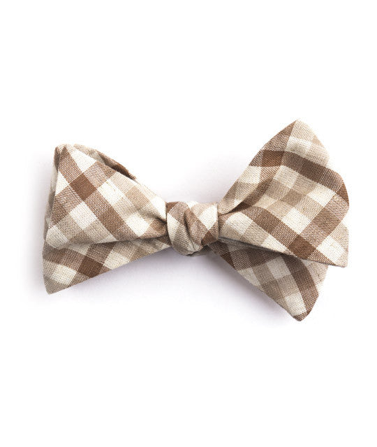 Brown & Beige Plaid Bow Tie - Mosaic Menswear - 2