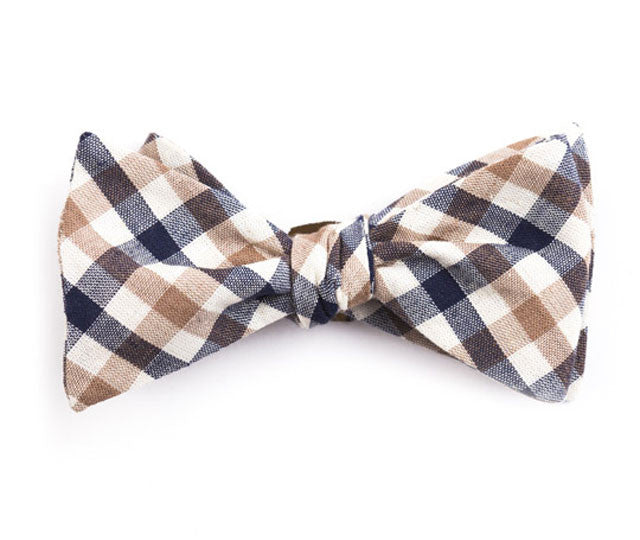 Brown & Navy Plaid Bow Tie