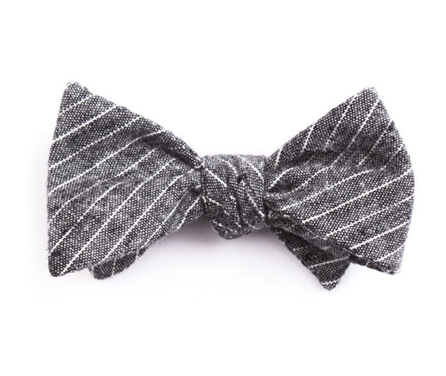 Black Small Striped Bow Tie