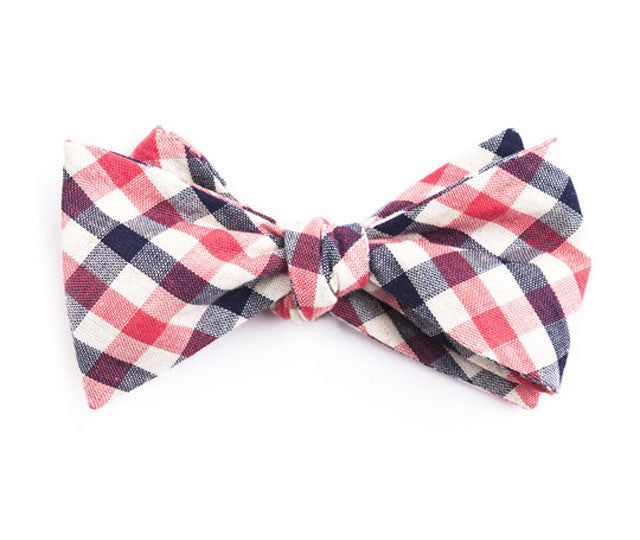 Blue & Pink Plaid Bow Tie