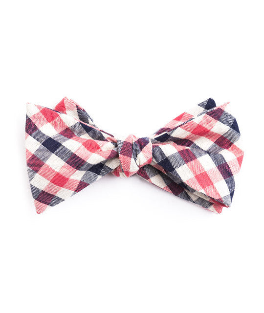 Blue & Pink Plaid Bow Tie - Mosaic Menswear - 2