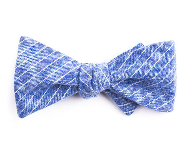 Blue Small Striped Bow Tie