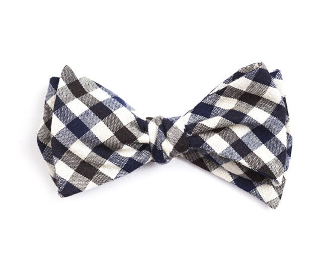 Black & Navy Plaid Bow Tie