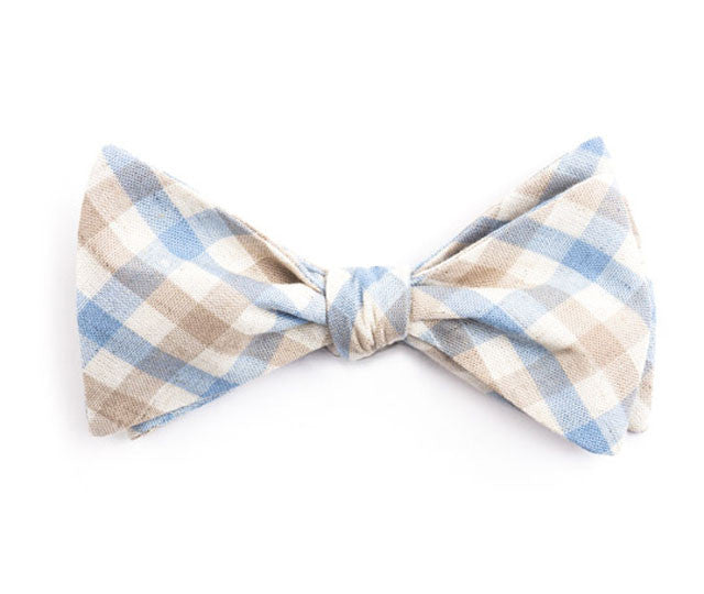 Light Blue & Brown Plaid Bow Tie