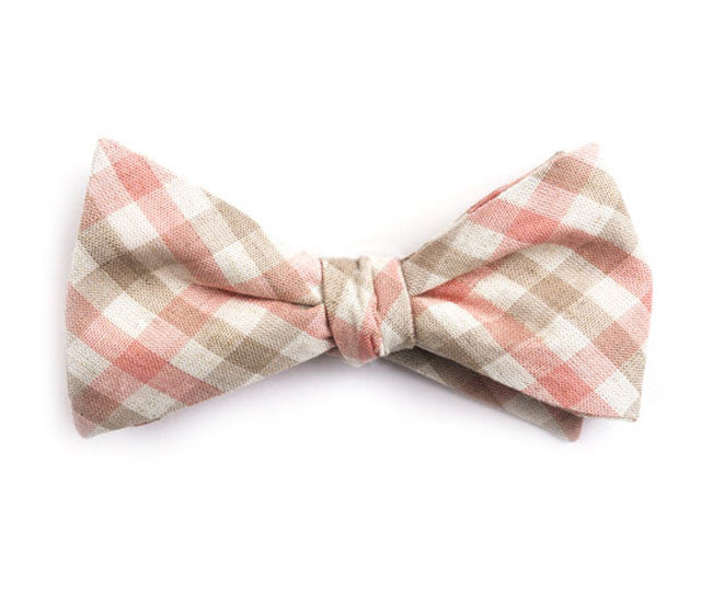 Pink & Brown Plaid Bow Tie