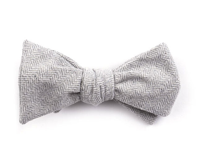 Gray Herringbone Bow Tie