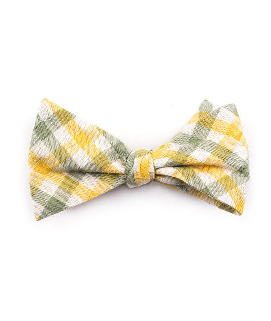 Green & Yellow Plaid Bow Tie - Mosaic Menswear - 2