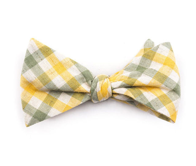 Green & Yellow Plaid Bow Tie