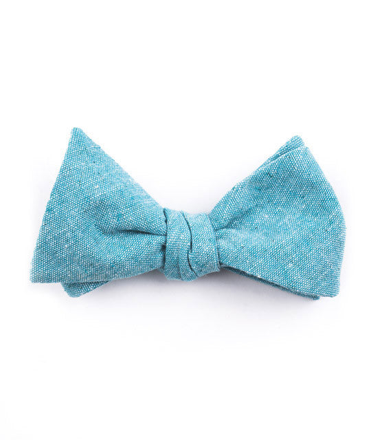 Solid Turquoise Bow Tie - Mosaic Menswear - 2