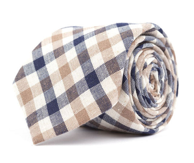 Brown & Navy Plaid Necktie