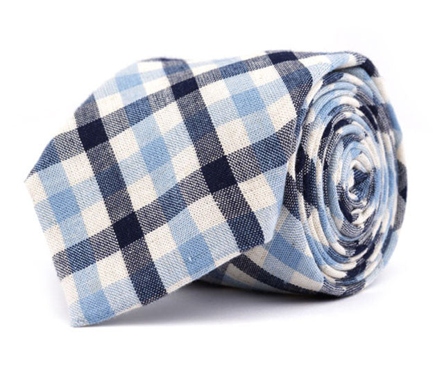 Navy & Baby Blue Plaid Necktie
