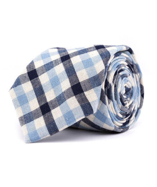 Navy & Baby Blue Plaid Necktie - Mosaic Menswear - 2