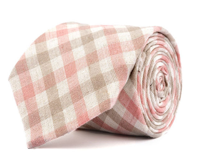 Pink & Brown Plaid Necktie
