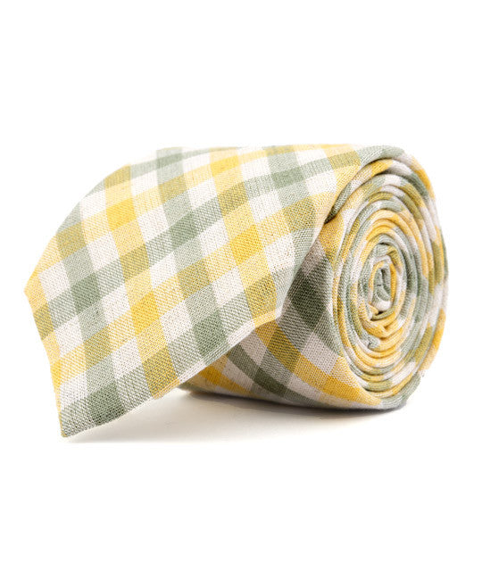 Green & Yellow Plaid Necktie - Mosaic Menswear - 2