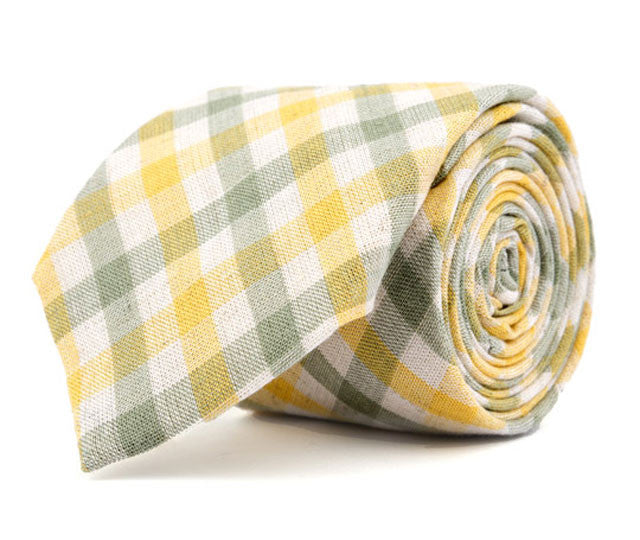 Green & Yellow Plaid Necktie