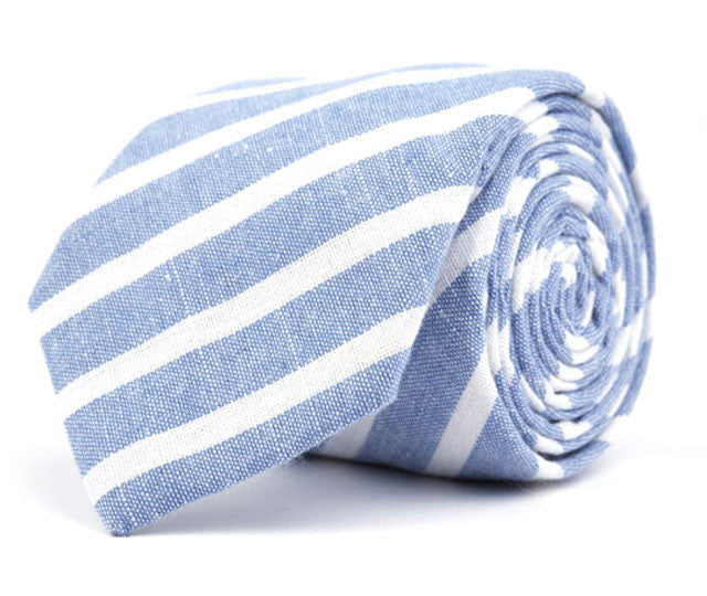 Blue Large Striped Necktie