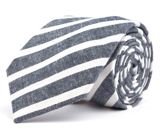 Navy Large Striped Necktie