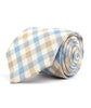 Light Blue & Brown Plaid Necktie - Mosaic Menswear - 2