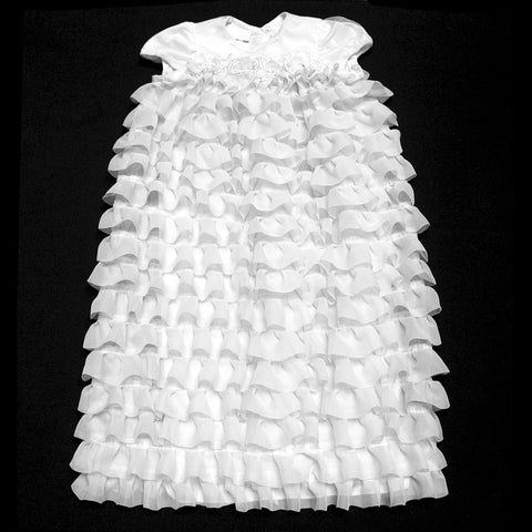 Tiered Ruffle Christening gown & headband set