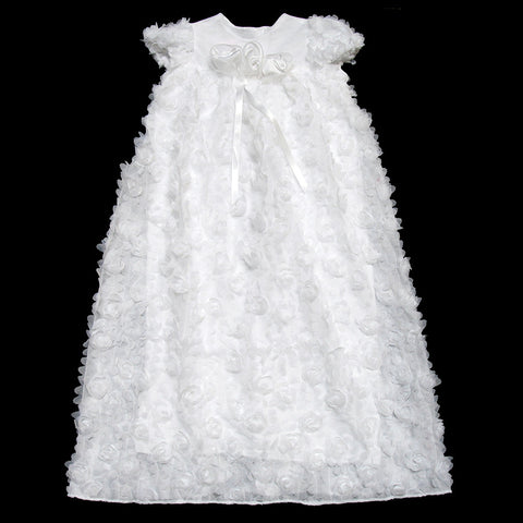 Flower Puff Christening gown & headband set