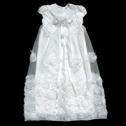Soft Floral Border Christening gown & headband set