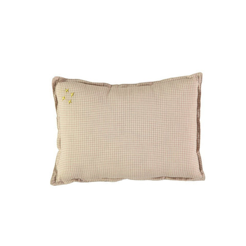CAMOMILE LONDON | Graph check padded cushion - limited edition Cinnamon-Natural