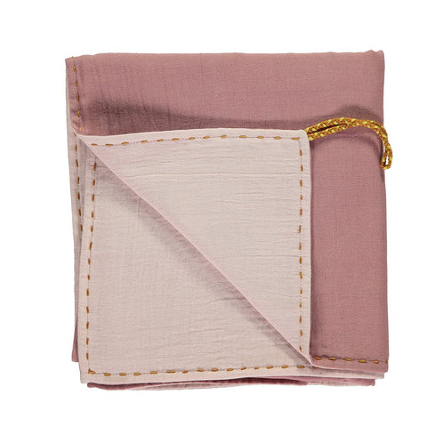 CAMOMILE LONDON | Double Layer Reversible Swaddle Blanket - Blush and Pink