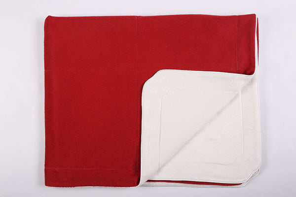 Little Button | Brushed Silk Blanket~Red + White