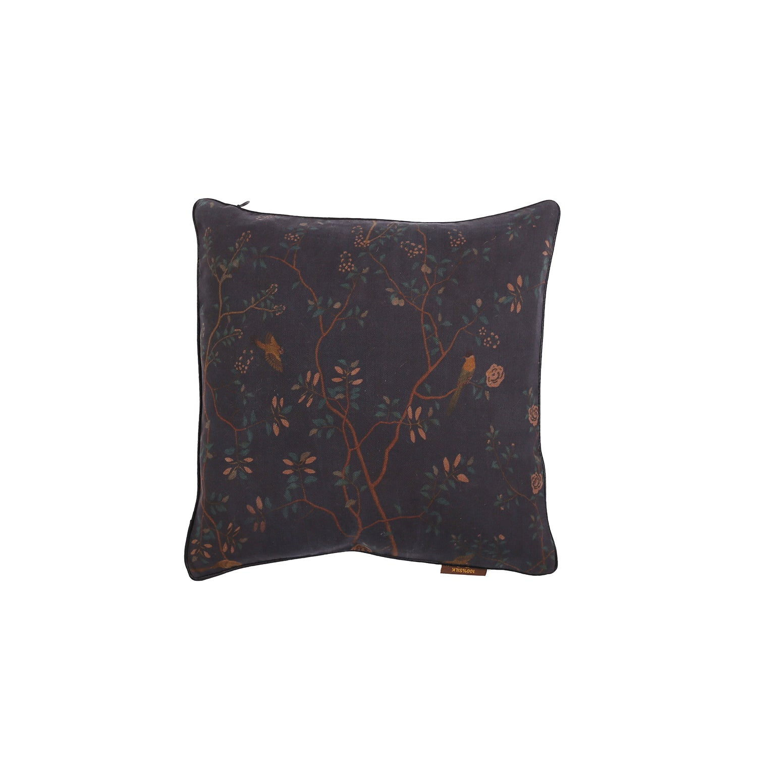 Little Button | Cushion Bird Flower~Black