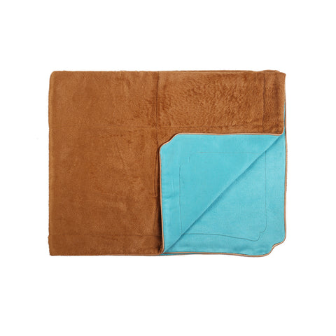 Little Button | Brushed Silk Blanket~Brown + Mint