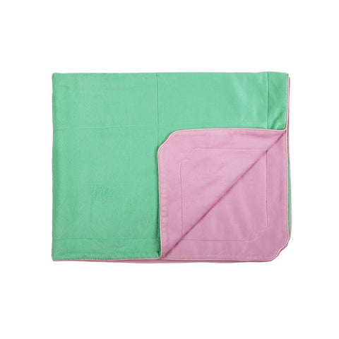 Little Button | Brushed Silk Blanket~Pink+Green
