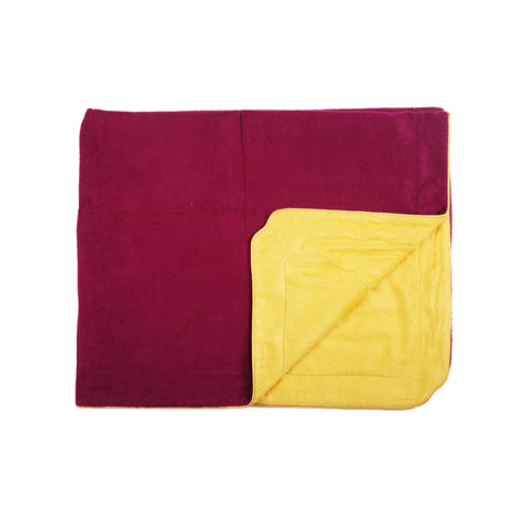Little Button | Brushed Silk Blanket~Violet+Yellow