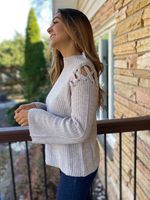 Valentina Lace Up Shoulder Sweater