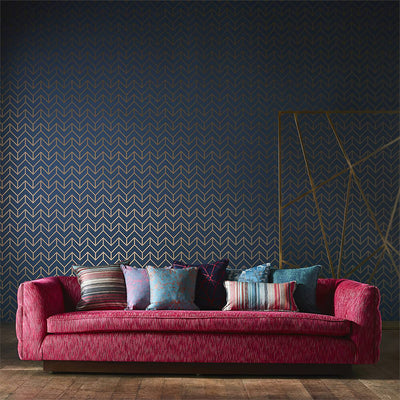 Tessellation Teal Gold Wallpaper, Harlequin, Momentum 5, Wall to Wall Wallpaper | Contemporary Wallpaper Online NZ