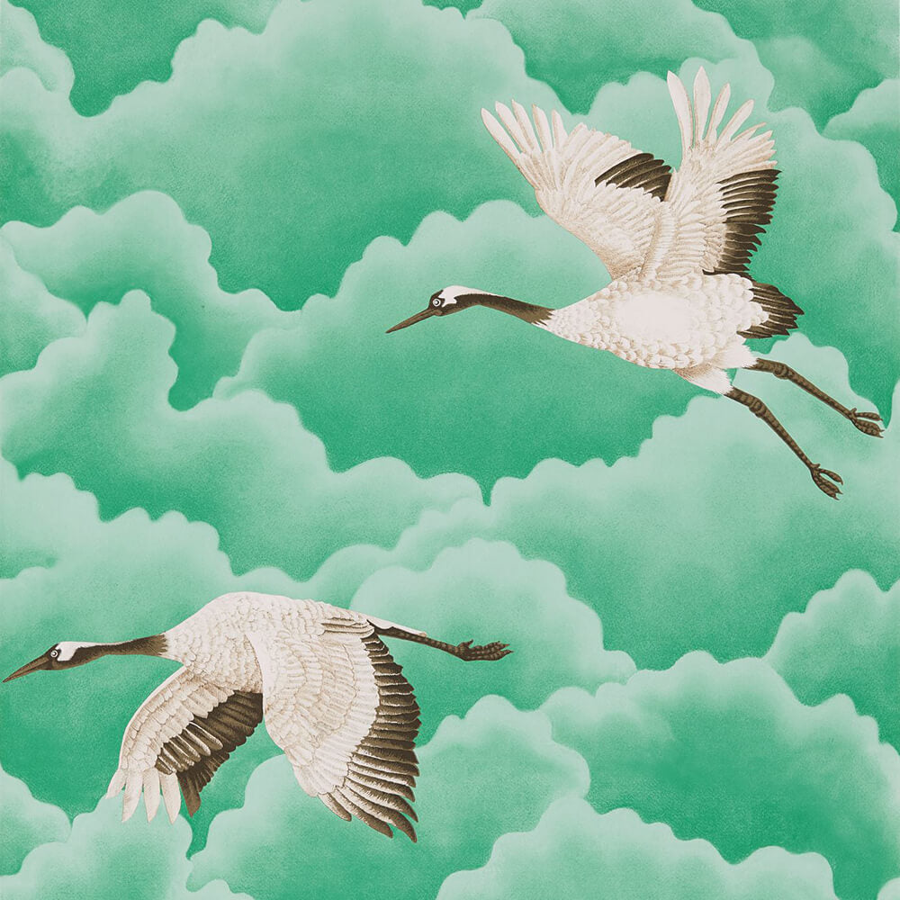 Cranes In Flight Emerald Wallpaper, Harlequin, Palmetto, Wall to Wall Wallpaper | Contemporary Wallpaper Online NZ