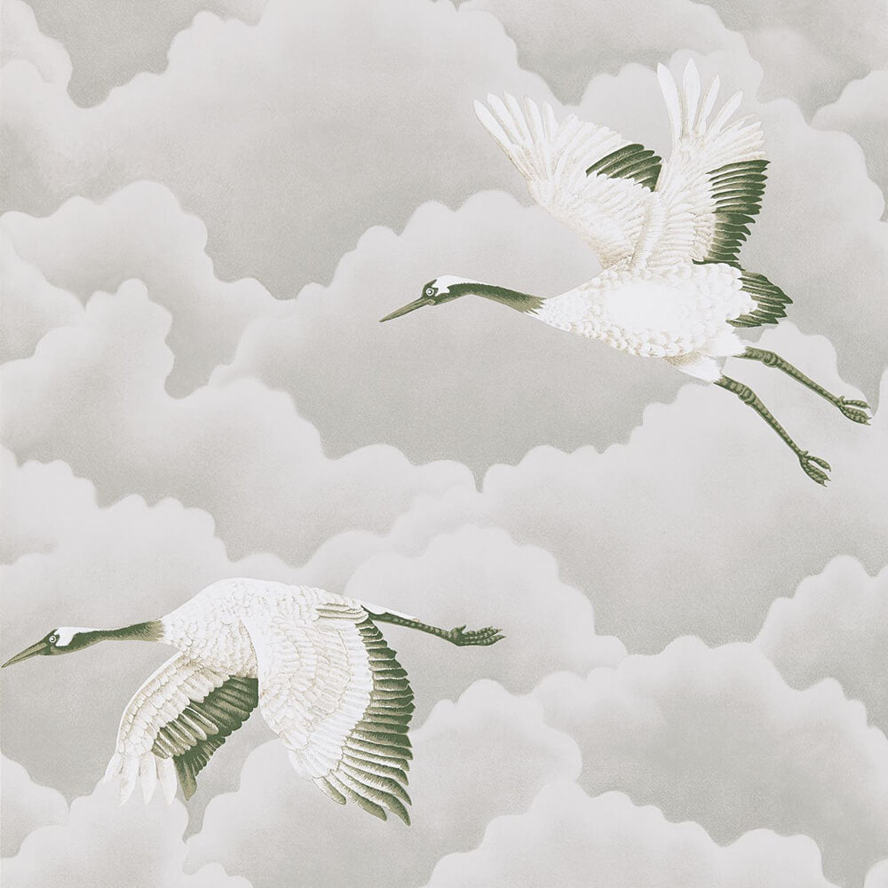 Cranes In Flight Platinum Wallpaper, Harlequin, Palmetto, Wall to Wall Wallpaper | Contemporary Wallpaper Online NZ