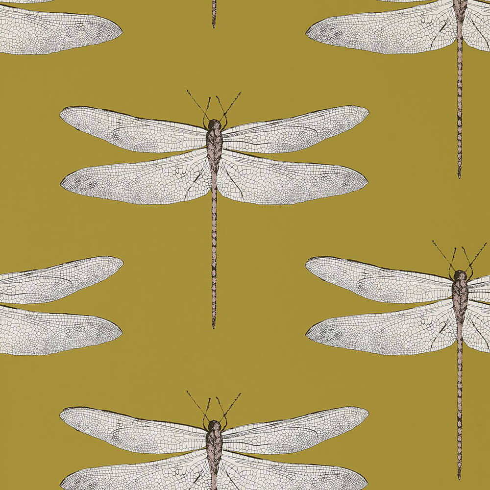 Demoiselle Ochre Grape Wallpaper, Harlequin, Palmetto, Wall to Wall Wallpaper | Contemporary Wallpaper Online NZ