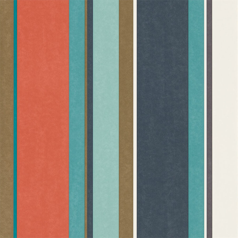 Bella Stripe Coral Gold Turquoise Wallpaper, Harlequin, Standing Ovation, Wall to Wall Wallpaper | Contemporary Wallpaper Online NZ