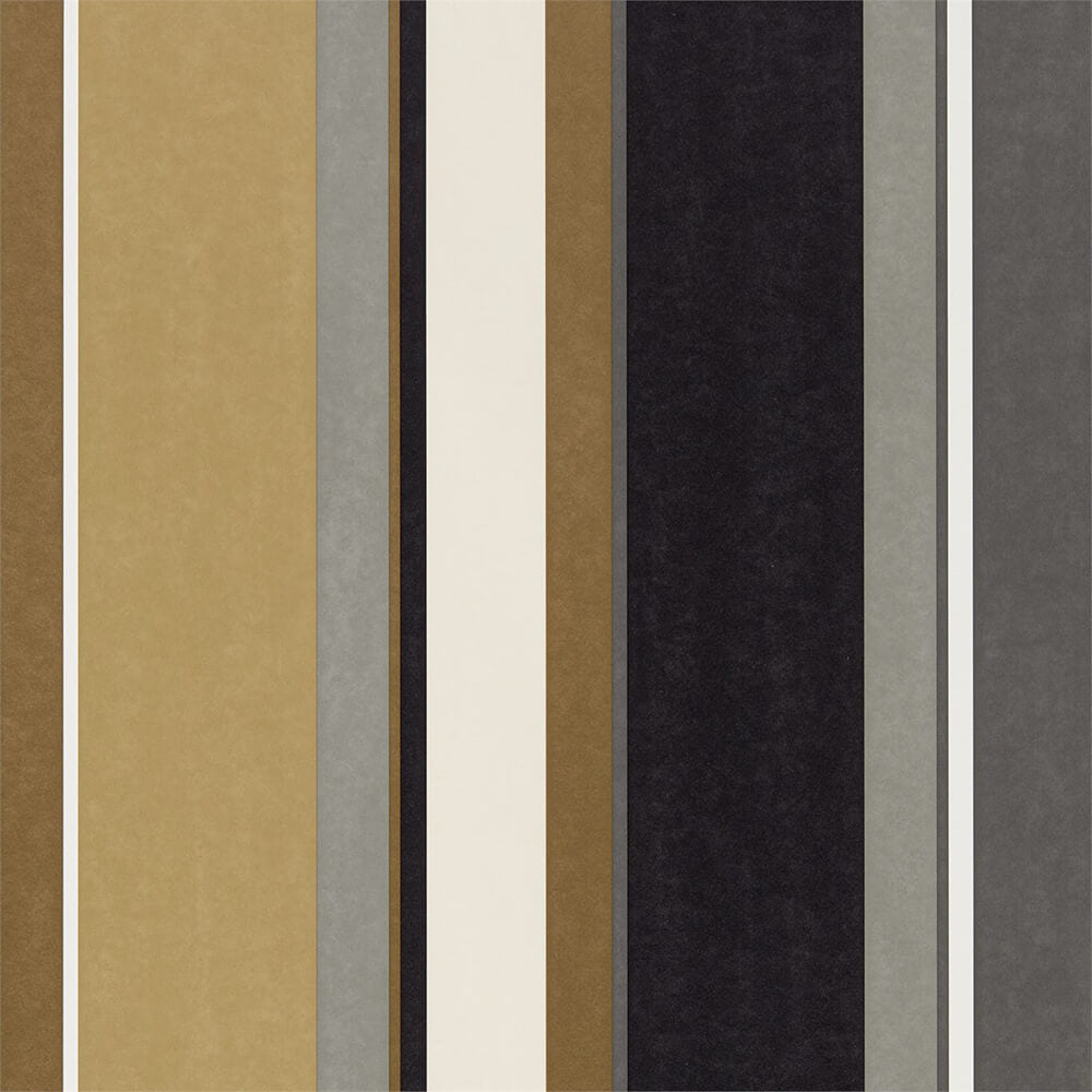 Bella Stripe Ochre Gold Ebony Wallpaper, Harlequin, Standing Ovation, Wall to Wall Wallpaper | Contemporary Wallpaper Online NZ