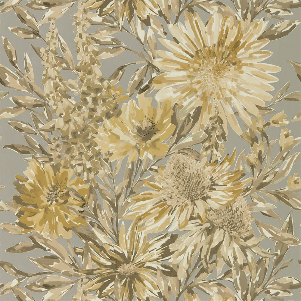 Floreal Ochre Gilver Wallpaper, Harlequin, Standing Ovation, Wall to Wall Wallpaper | Contemporary Wallpaper Online NZ
