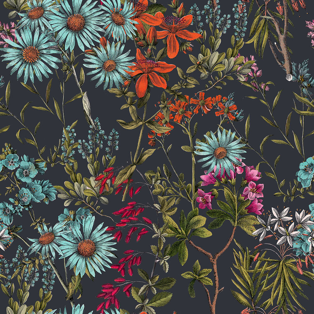 Summerish Charcoal Wallpaper, Mind the Gap, Mind the Gap 2019, Wall to Wall Wallpaper | Contemporary Wallpaper Online NZ